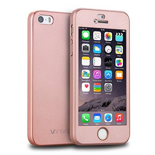iPhone 5S Case, iPhone 5 Case, iPhone SE Case, VANSIN 360 Full Body Protection Hard Slim Case with Tempered Glass Screen Protector for Apple iPhone 5 5S SE (4.0-inch) - Rose Gold
