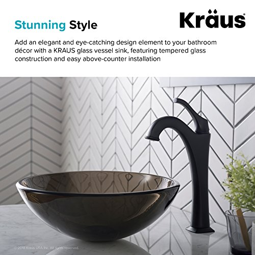 Kraus GV-103-14 Clear Brown 14 inch Glass Vessel Bathroom Sink by Kraus (Image #6)