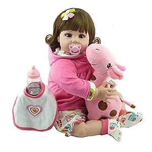Domybest Muñeca Bebé Renacida Linda del Silicón de la Moda Juguete Regalo 55CM para Muchachas (01)