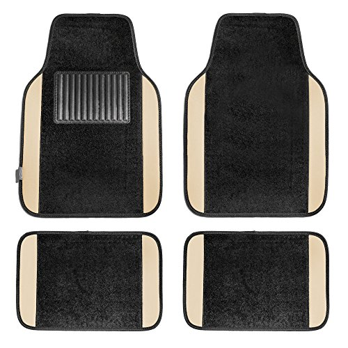 FH Group FH-F14407 Premium Carpet Floor Mats Beige/Black Color - Fit Most Truck, SUV, or ()