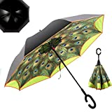 NEWBRELLAs 25' Golf Size Creative Inside Out Drip-free Inverted Umbrella for Car Use with C-shaped Handle and Peacock Print - Anti-uv Sun And Rain Umbrellas