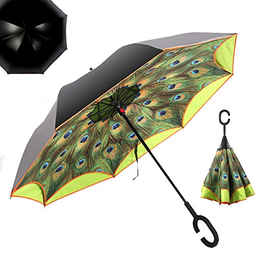 "Price comparison product image NEWBRELLAs 25"" Golf Size Creative Inside Out Drip-free Inverted Umbrella for Car Use - Anti-uv Sun and Rain Umbrellas (Peacock Yellow)"