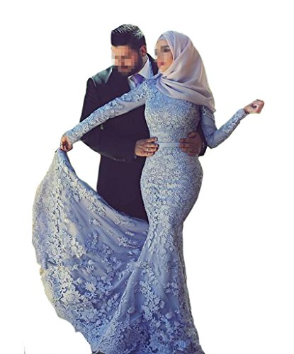 Emmani Women's Mermaid Islam Muslim Arab Africa Lace Applique Evening Dresses Blue 18w by Emmani