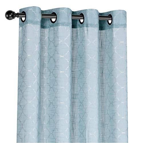 (GoodGram 2 Pack: Leighton Metallic Premium Blue Semi Sheer Lattice Grommet Curtains - Assorted Colors (Leighton Blue))