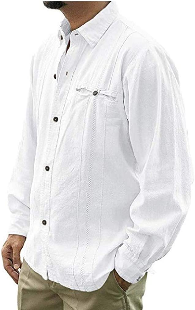YUSKY Men Linen Solid Color Casual Loose Long Sleeve Button Down Shirts