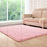 Lee D.Martin Indoor Area Rugs Living Room Bedroom Rectangle Ultra Soft Carpets Modern Shaggy Children Rugs Anti-Slip Backed Home Décor Rug,3.94x5.25,Pink