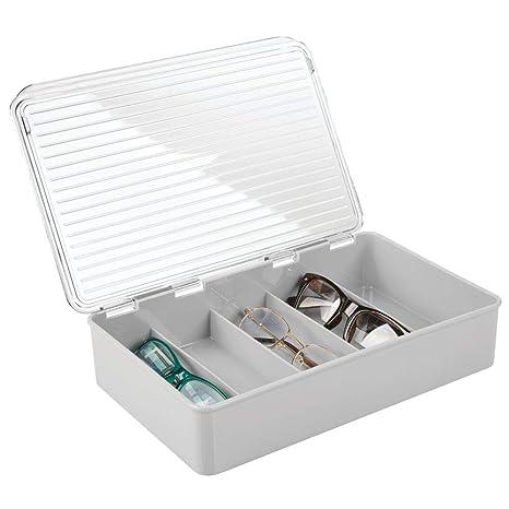 mDesign Cajas para gafas de sol – Clasificador de plástico con 5 compartimentos – Organizador de armarios para guardar todo tipo de gafas – gris y ...
