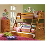 Discovery World Furniture Mission Twin Over Full Bunk Bed with 3 Drawers, Desk, Hutch, Chair and 5 Drawer Chest in Honey Finish
