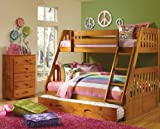 Mission Twin Over Full Bunk Bed with Trundle, Desk, Hutch, Chair and Entertainment Dresser in Honey Finish