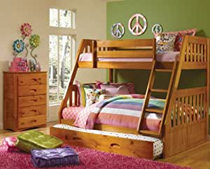 Amazon Com Mission Twin Over Full Bunk Bed With 3 Drawers