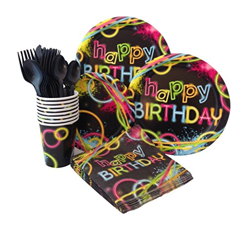Neon Glow Birthday Party Supply Pack! Bundle Includes Paper Plates, Napkins, Cups & Silverware for 8 Guests (Neon Themed Party)
