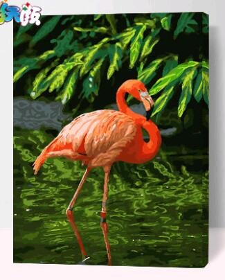 Prime Leader Wooden Framed Diy Oil Painting, Paint By Number Kit Flamingo In Water Y 16x20 Inch