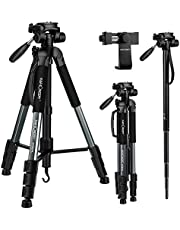 """K&F Concept 70"""" Portable Aluminum Alloy Tripod Monopod with 3-Way Swivel Pan Head Quick Release Plate Carrying Handle Carry Bag and Phone Clip for DSLR,DV Video Camcorder -8.8 lbs(4kg) Load (Grey)"""