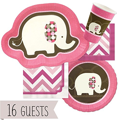 Big Dot of Happiness Pink Elephant - Party Tableware Plates, Cups, Napkins - Bundle for 16