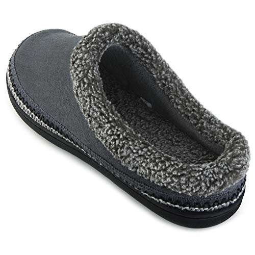 Suede Microfiber Clog (ULTRAIDEAS Men's Comfort Suede Memory Foam Slippers Non Skid House Shoes w/Trendy Embroidery Detail (Large / 11-12 D(M) US, Gray))