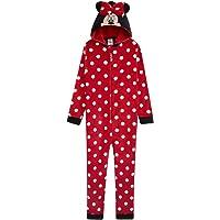 Disney Minnie Mouse Pijama Niña de Una Pieza, Pijama Entero con Capucha 3D, Pijamas Niña de Lunares Regalos para Niña y…