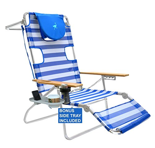 Ostrich Deluxe (Ostrich 3 N 1 Beach Chair/Lounger Stripe with Removeable Side Tray)