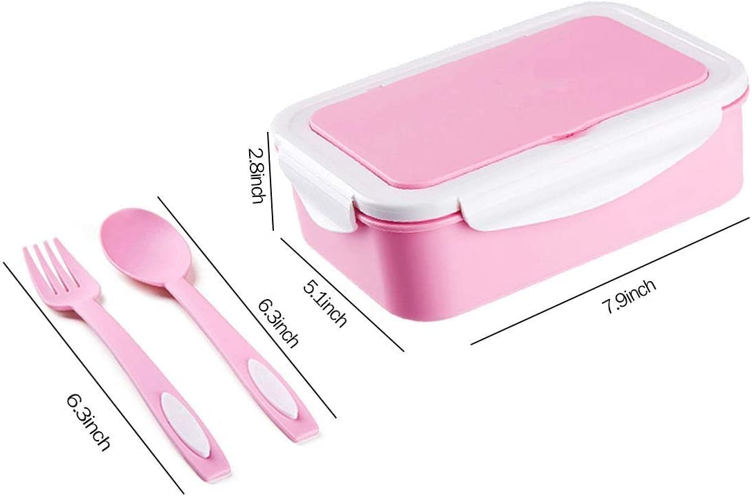 Forchetta e Cucchiaio Sinwind Lunch Box per Microonde e Lavastoviglie//Approvato dalla FDA//No BPA. Rosa Porta Pranzo Bento Box con 3 Scomparti e Posate