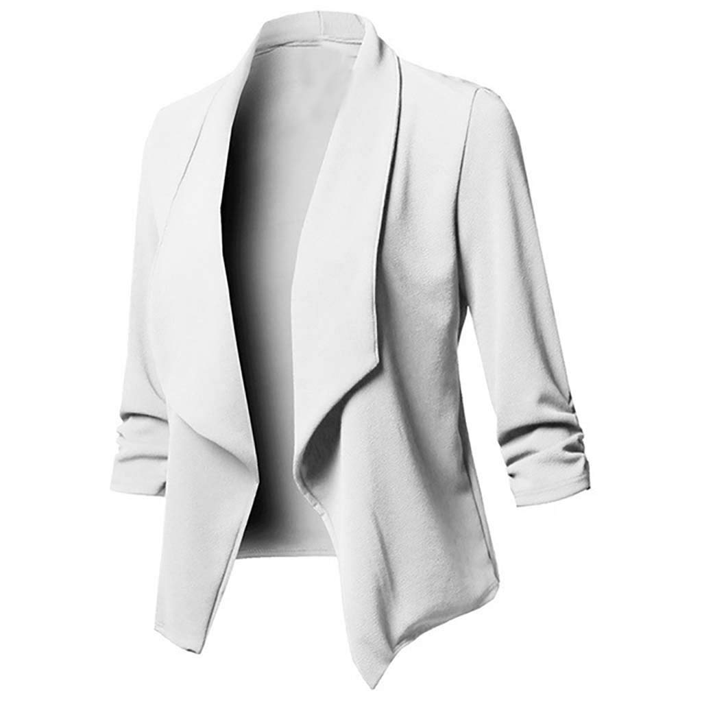 Coupondeal Womens Solid Open Front Cardigan Long Sleeve Blazer Casual Jacket Coat(White,XXXL) by Coupondeal