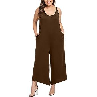 ... Mujeres Diario Oficina Moda Talla Extra Casual Sólido O-Cuello Sin Mangas ordenado Mono Pantalones Largos Mono de Bolsillo: Amazon.es: Ropa y accesorios