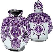 Men Novelty Zip Hoodies, 3D Print Norse Fenrir Wolf Loose Hooded Sweatshirts Viking Pullover Jacket with Pocke