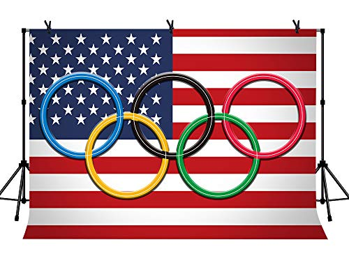 LYLYCTY 7x5ft American Flag Olympic Rings Backdrop Sport Themed Party Photography Background Party Event Photo Studio Props LYZY0862
