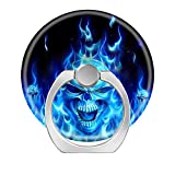 360 Degree Finger Stand Cell Phone Ring Holder Car Mount with Hook for Smartphone-Blue Skull