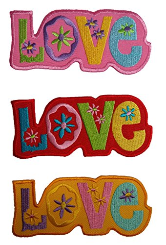 Papaya Shop Love Peace Hippie Boho Retro Flower Power Hippy Embroidered Iron-on Patch