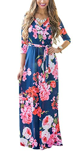Exa Womens Summer Casual Floral Print Faux Wrap V Neck Maxi Long Dress With Belt Bohemian 3 4 Sleeve  Xx Large  Navy Blue