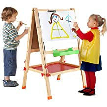BATTOP Double Sided Adjustable Kids Easel Drawing Board With Magnetic Alphabet Numbers - Extra Accessory Set Included