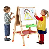 BATTOP Double Sided Adjustable Kids Easel Drawing Board With Clip Magnetic Alphabet Numbers