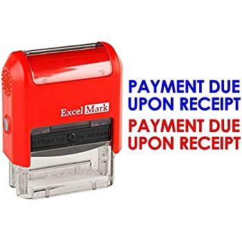 payment due upon receipt excelmark self inking two color rubber office stamp red and blue ink