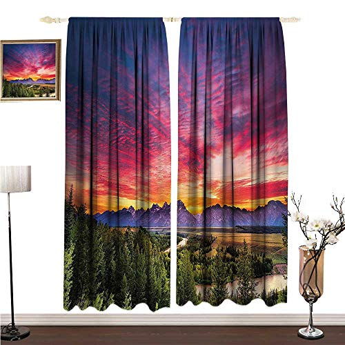 - Anshesix Half Blackout Curtains: Lake House Decor Collection Colorful Skyline with Clouds in The Forest Lake River Mountain Landscape Park Sunburst W96 xL72 Decor Curtains by