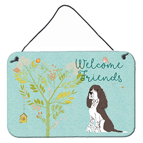 Caroline's Treasures BB7622DS812 Welcome Friends Brown Springer Spaniel Wall or Door Hanging Prints, 8x12, Multicolor
