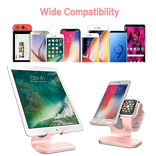 ZVEdeng Cell Phone Stand & Watch Stand for Apple & Tablet Stand, 2 in 1 Phone Stand for iPhone X/8/7/7 Plus/6/6 Plus/5S/SE/5, iPad, All Android Smartphones, Kindle(Rose Gold-Leather) by ZVEdeng (Image #2)