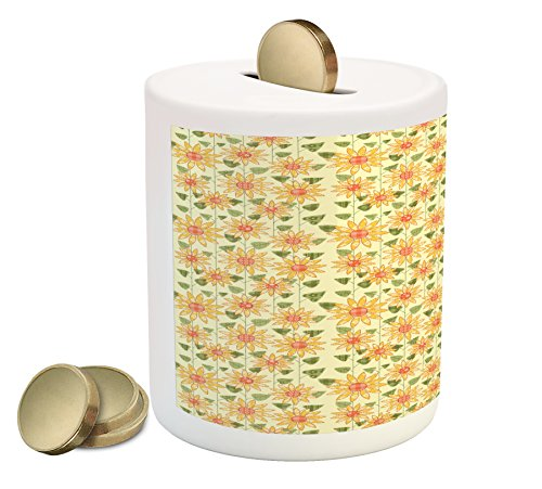 Ambesonne Sunflower Coin Box Bank, Floral Nature Pattern in Patchwork Style Rustic Country Design, Printed Ceramic Coin Bank Money Box for Cash Saving, Yellow Orange Olive Green