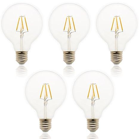 5 pieza G95 LED Bombilla E27 Regulable Blanco Cálido 4 W, equivalentes a 30 W