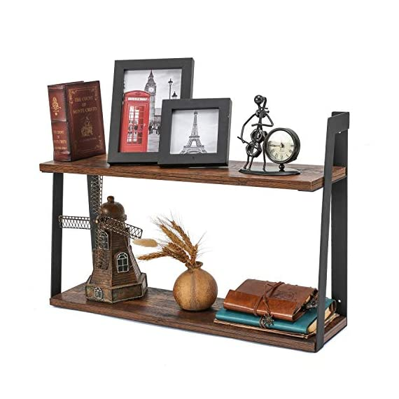 MaidMAX Floating Shelves, 2 Tier Rustic Shelf, Display Storage Ledge, Wall Mounted Shelf with Metal Brackets for Living Room, Bathroom, Bedroom, Kitchen, Wood Grain Finish - FLOATING SHELF DIMENSION: 23.5 (L) x 5.8 (D) x 15.6 (H) inches, load capacity: 35.3 lbs. TWO TIER STORAGE SHELVES : Lightweight but solid organizing shelves with ample storage, capable of holding over 35 lbs,offering large room for books, DVDs, ornaments and more. FUNCTIONAL WOOD WALL SHELVES : Unique shelving solution for reducing clutter by adding additional shelving space for books, collectibles, plants, crafts, photos and more in living room, bedroom, office, kitchen, pantry; Ideal for displaying your favorite collectibles or decorative items. - wall-shelves, living-room-furniture, living-room - 51qwl8390TL. SS570  -