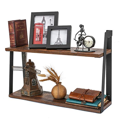 MaidMAX Floating Shelves, 2 Tier Rustic Shelf, Display Storage Ledge, Wall Mounted Shelf with Metal Brackets for Living Room, Bathroom, Bedroom, Kitchen, Wood Grain Finish ()