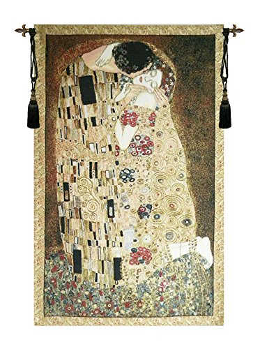 Kiss of Klimt Italian Wall Hanging Woven Tapestry by Charlotte Home Furnishings