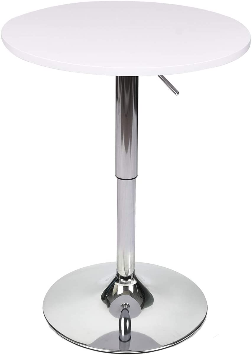 35 Inches Height Round Bar Table Adjustable Height Chrome Metal and Wood Cocktail Pub Table MDF Top 360 Swivel Furniture White 1