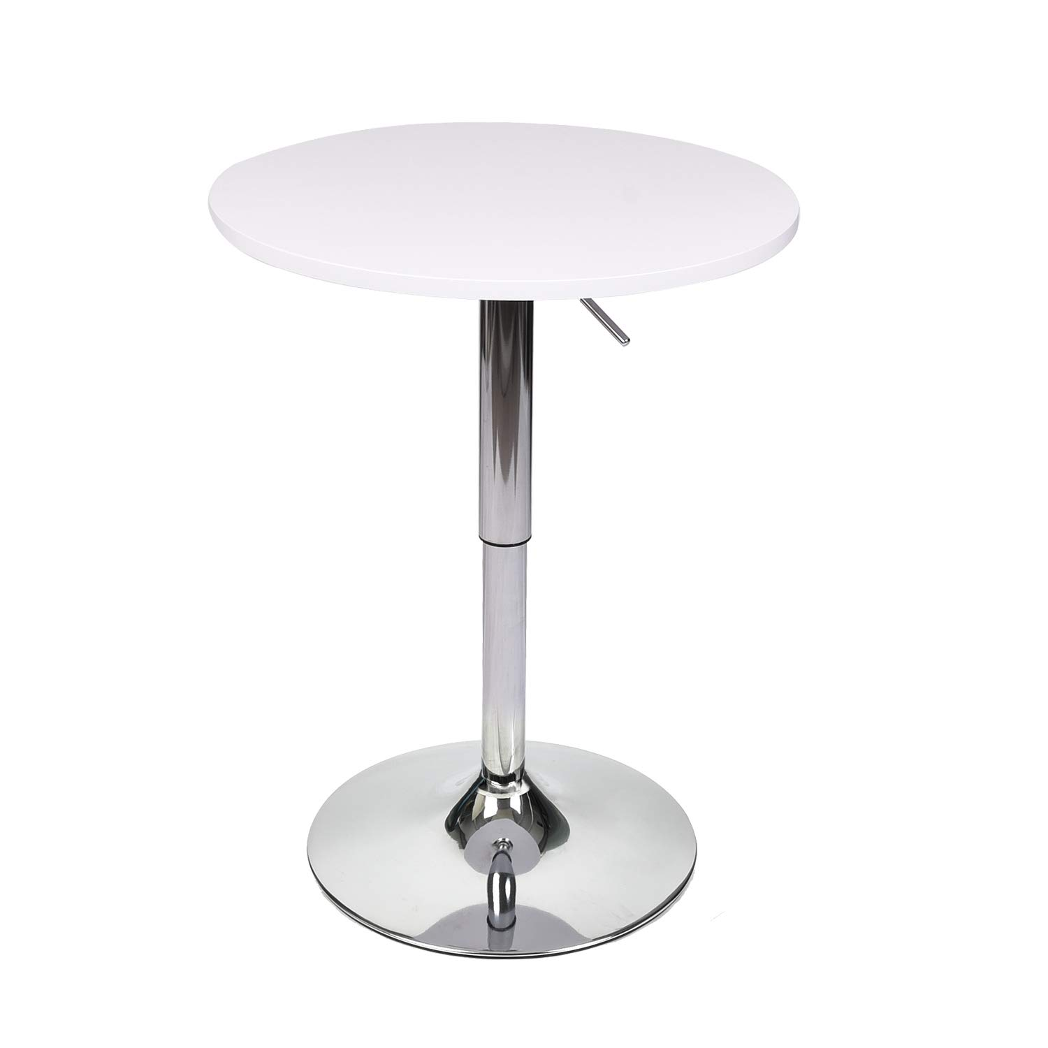 35 Inches Height Round Bar Table Adjustable Height Chrome Metal and Wood Cocktail Pub Table MDF Top 360°Swivel Furniture (White 1) by PULUOMIS