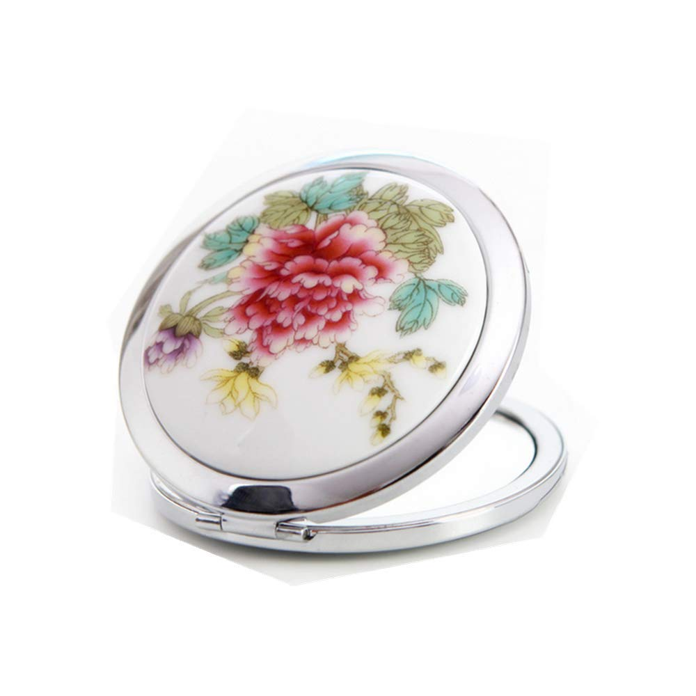 Westeng Miroir de Maquillage Motif de Pivoine Rouge Portable Pliable Petit Miroir de Poche 1pcs