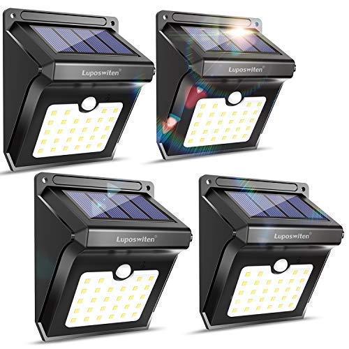 28 Outdoor, Solar Sensor Lights Lights, Solar Powered Lights for Steps Yard Garage Patio(4-Pack)