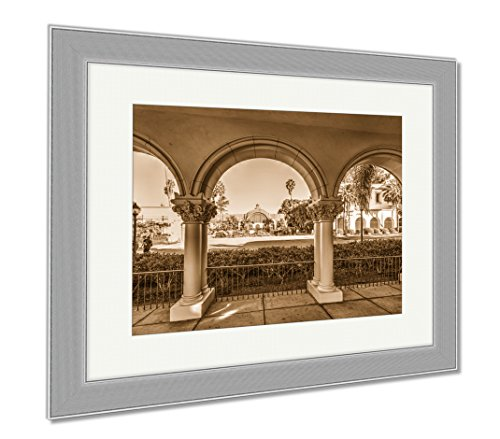 Ashley Framed Prints Arches In Balboa Park In San Diego California, Contemporary Decoration, Sepia, 26x30 (frame size), Silver Frame, AG6522673 (Outdoor Diego Furniture Wood San)