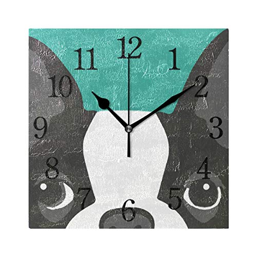 TFONE Cartoon Boston Terrier Dog Wall Clock Square Silent Non Ticking Battery Operated Clock for Home Kitchen Bedroom Bathroom Living Room Office Decorative