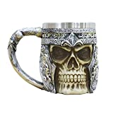 Viking 3D Skull Beer Mugs 304 Stainless Steel Novelty Coffee Bar Cup Halloween Gifts