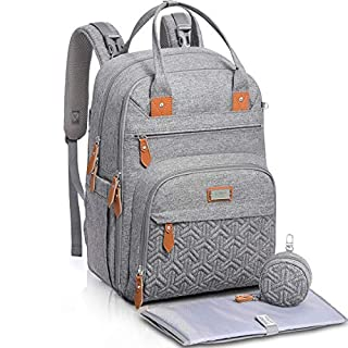 Diaper Bag Backpack, Unisex Baby bags with Changing pad, Insulated Pockets & Pacifier Holder for Boys Girls, WELAVILA Large Multifunction Travel Back Pack for Mom & Dad, Gray