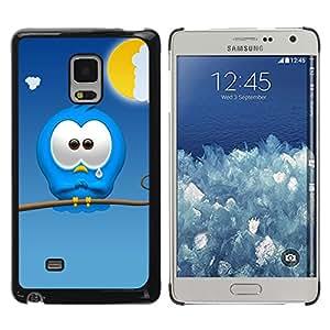 QCASE / Samsung Galaxy Mega 5.8 9150 9152 / personaje de dibujos animados triste monstruo azul lindo del arte / Delgado Negro Plástico caso cubierta Shell Armor Funda Case Cover