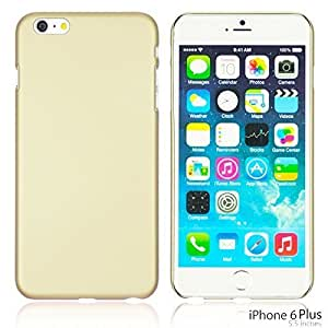 OnlineBestDigital - Comfortable Ultra Thin Solid Color Oil Coated Hard Case for Apple iPhone 6 Plus (5.5 inch) Smartphone - Gold with 3 Screen Protectors by icecream design